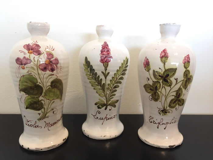 Three Antique Hand Painted Vases With Pink Flowers Early 20th