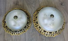 Pair of ceiling lamps in brass, 20th century