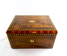A Victorian olive wood and parquetry sewing box - England - circa 1870