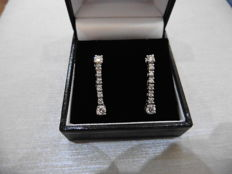 Platinum Diamond Eight Stone Drop Earrings - 0.60ct  H/ I, Si2