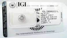 Round brilliant cut diamond - 2.54 carat - G color - I1 Clarity -- IGL Sealed ***** LOW RESERVE PRICE *****