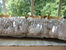 Huge plate of clear Quartz crystals - 82 x 32 x 8 cm - 24.1 kg
