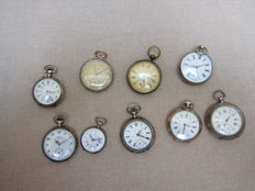 9 antique silver pocket watches for repair