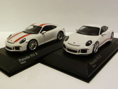 Minichamps - Scale 1/43 - Porsche 911-R (991) 2016 - White with red stripes & White with red text