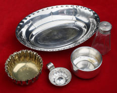 5 table objects in silver metal with punch art nouveau, France