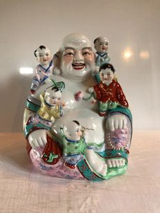 Multi-coloured porcelain statue representing Putai and his children - China - end of 20th century.