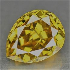Pear Cut Diamond of 0.21 ct – Natural Fancy Greenish Brownish Yellow P1 (I1) ***NO RESERVE***