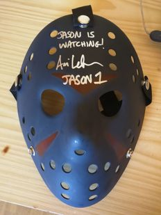 Signature of Jason Voorhees Friday 13 mask signed by actor Jason Voorhees Ari Lehman of part 1 with additional inscription Jason is watching