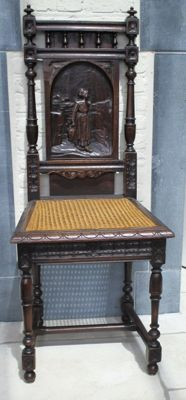 Beautiful Mechelen chair with carved image, first half of the 20th century, Mechelen, Belgium