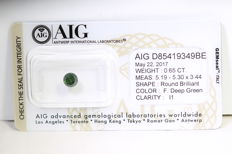 Deep Green Diamant - 0.65 ct - I1