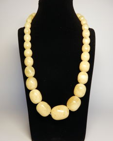 Olive shaped Baltic Amber necklace in white and butter colour, 70 gr