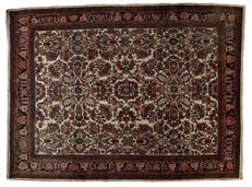 Antique manufacture authentic Songor Kurdo rug – Oriental Persian – Hand-knotted – Dimensions: 354 x 270 cm – 1930-1950 – With certificate of authenticity signed by an official appraiser (Galleria Farah 1970)