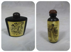 2 bone snuff flasks