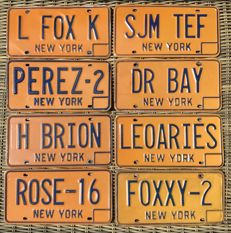 NEW YORK state - Lot of 8 personalised license plates