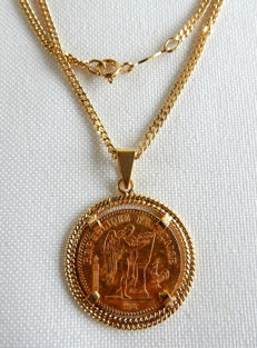 Gold coin, 20 Francs, Génie, Second Republic - 1849 - mounted on 18 kt yellow gold and 18 kt gourmette link chain