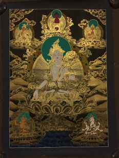 Hand painted Thangka painting, representing White Tara - Tibet/Nepal - late 20th century