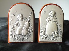 2 Leader Argenti sterling silver plaques. Luigi Pesaresi, Italy/Bulgaria, 2nd half 20th century