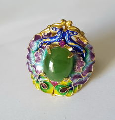 great handwork,Enamel, nephrite, gold-plate sterling silver ring ,Weight : approx :8 g