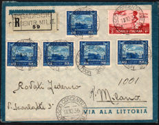Somalia, 1936 -- Registered mail to Milano with interesting franking, Sassone  Nos. 174, A24
