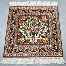Magnificent, square, silk Kashmir carpet – great condition – with certificate