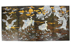 Quadriptych in black varnish - inlaid with mother of pearl - Vietnam - 2nd half 20th century