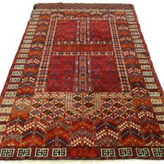 "Signed semi-antique Turkoman Engsi – 123 x 81 cm – ""Authentic Persian Prayer Rug – 100% Wool – In beautiful condition"""