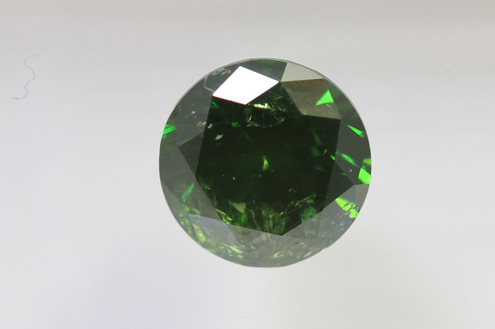 Deep Green Diamant - 0.54 ct - I1