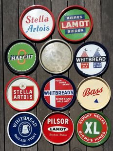 Collection of 11 beer plateaus - 1930/1960
