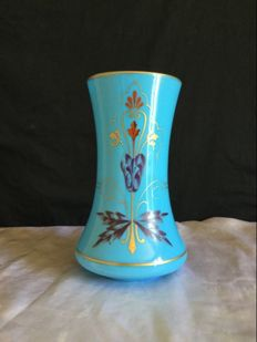 Blue opaline glass vase, painted and gilded