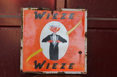 Enamel sign for WIEZE beers - orange version - 1950s