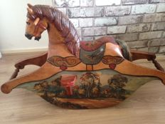 Wooden horse with beautiful landscapes. Germany, first half of the 20th century