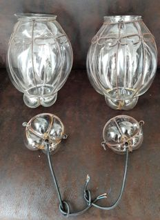 Two oval Venetian lamps - glass with metal - Italy - 2nd half of 20 century
