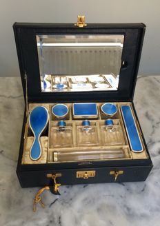 Rare child's travel kit, Baccarat crystal, sterling silver and blue enamel, France circa 1920