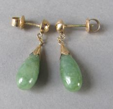 Antique 14K gold genuine untreated Jadeite drop earrings, numbered TYL (TY LEE T.Y.L. T.Y. LEE), ca. 1930's from Hong Kong