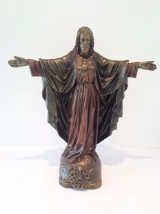 Religious sculpture Jesus Christ - terracotta - 19th century