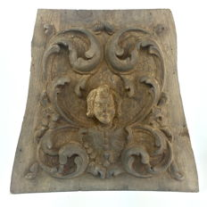 French art panel hand carved in chestnut wood - 19th century