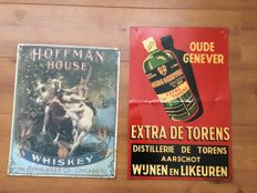 Hoffman House Whisky advertising sign (42.5 x 34cm) & Old Gin advertising sign (50x33cm) - Mid 20th century