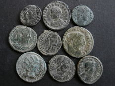 Roman Empire - Nine various AE follis of various emperors (9)