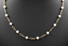 Gold (18 kt) – Choker – Round shape cultured Akoya pearls – Length: 44 cm (approx.)