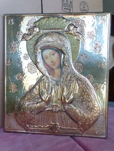 Orthodox devotion - large-sized chiselled icon of Mary in 925/1000 silver - Italy - 20th century