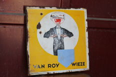 Enamel sign for VAN ROY WIEZE beers - YELLOW version - 1950s