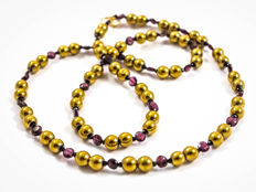 Long multi-gemstone necklace with Bohemian garnets, 62 cm length, 18 kt gold clasp