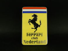 Excellent Original Vintage Enamel on Chrome Ferrari Owners Club Nederland Netherlands Auto Car Badge