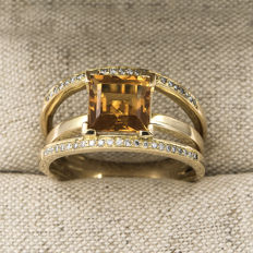 Yellow gold cocktail ring with citrine quartz and brilliant cut diamonds – Ring size: 25 (Spain)