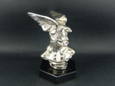 Beautiful Vintage Original Chrome Viking Winged Helmet Mascot Mounted on Hexagonal Base