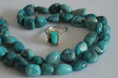 Turquoise necklace and silver ring with turquoise - Ring size: 18.2 (mm)