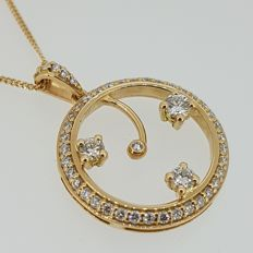 New designer diamond pendant in 18kt gold - 47 diamonds - Size 24 x 18mm