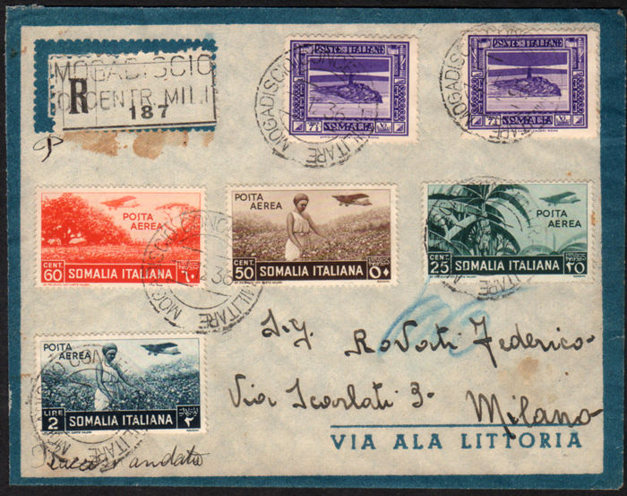Somalia, 1936 – Registered letter to Milan – Mixed stamps