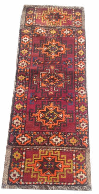 1960s Vintage Hand Knotted Tribal Kurdish Rug 120 cm x 42 cm