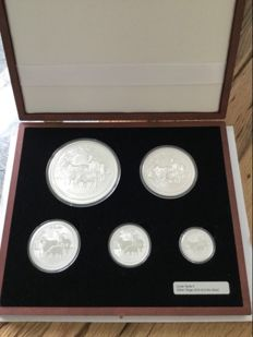 "Australien: 5 Coin Set Lunar II , 2015 ""Year of the Goat""  - 18,5 oz in edler Holzbox"